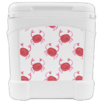 watercolor cute red crabs beach design rolling cooler