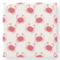 watercolor cute red crabs beach design stone coaster