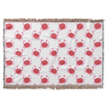 watercolor cute red crabs beach design throw blanket