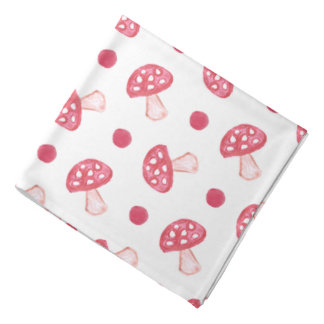 watercolor cute red mushrooms and polka dots bandana