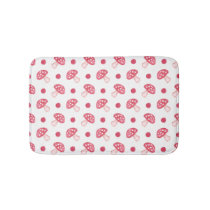 watercolor cute red mushrooms and polka dots bathroom mat