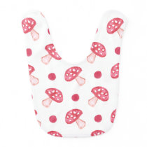 watercolor cute red mushrooms and polka dots bib