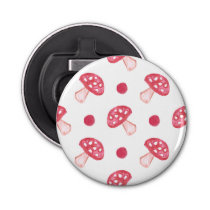 watercolor cute red mushrooms and polka dots bottle opener