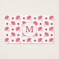 watercolor cute red mushrooms and polka dots business card