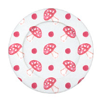watercolor cute red mushrooms and polka dots button covers