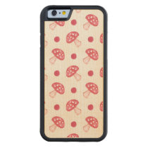 watercolor cute red mushrooms and polka dots carved® maple iPhone 6 bumper case
