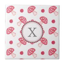 watercolor cute red mushrooms and polka dots ceramic tile