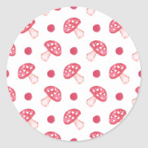 watercolor cute red mushrooms and polka dots classic round sticker