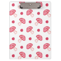 watercolor cute red mushrooms and polka dots clipboard