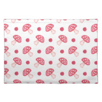 watercolor cute red mushrooms and polka dots cloth placemat