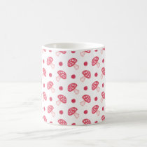 watercolor cute red mushrooms and polka dots coffee mug