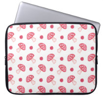 watercolor cute red mushrooms and polka dots computer sleeve