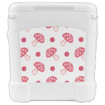 watercolor cute red mushrooms and polka dots cooler