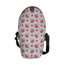 watercolor cute red mushrooms and polka dots courier bag
