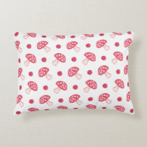 watercolor cute red mushrooms and polka dots decorative pillow