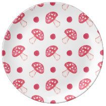 watercolor cute red mushrooms and polka dots dinner plate