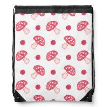 watercolor cute red mushrooms and polka dots drawstring bag