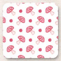 watercolor cute red mushrooms and polka dots drink coaster