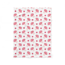 watercolor cute red mushrooms and polka dots fleece blanket