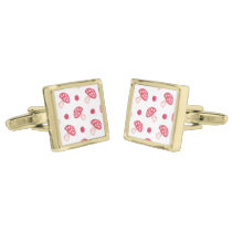 watercolor cute red mushrooms and polka dots gold cufflinks