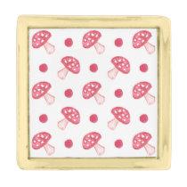 watercolor cute red mushrooms and polka dots gold finish lapel pin