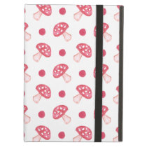 watercolor cute red mushrooms and polka dots iPad air cover