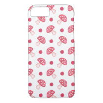 watercolor cute red mushrooms and polka dots iPhone 7 case
