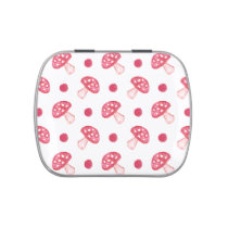 watercolor cute red mushrooms and polka dots jelly belly candy tin
