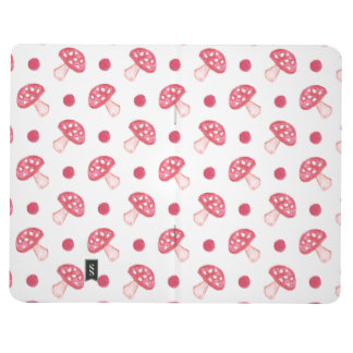 watercolor cute red mushrooms and polka dots journal