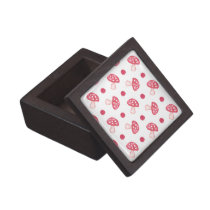 watercolor cute red mushrooms and polka dots keepsake box