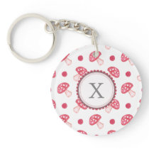 watercolor cute red mushrooms and polka dots keychain