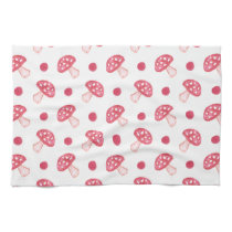 watercolor cute red mushrooms and polka dots kitchen towel