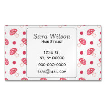 watercolor cute red mushrooms and polka dots magnetic business card