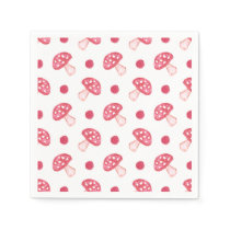 watercolor cute red mushrooms and polka dots napkin