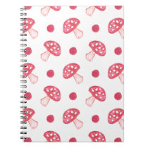 watercolor cute red mushrooms and polka dots notebook