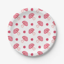 watercolor cute red mushrooms and polka dots paper plate