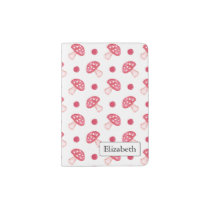 watercolor cute red mushrooms and polka dots passport holder