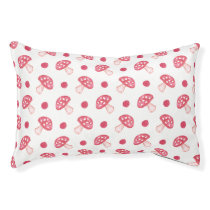 watercolor cute red mushrooms and polka dots pet bed