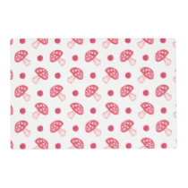 watercolor cute red mushrooms and polka dots placemat