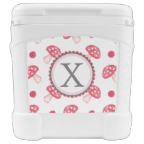 watercolor cute red mushrooms and polka dots rolling cooler