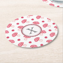 watercolor cute red mushrooms and polka dots round paper coaster
