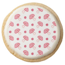 watercolor cute red mushrooms and polka dots round shortbread cookie
