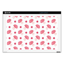 watercolor cute red mushrooms and polka dots skins for laptops