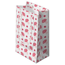 watercolor cute red mushrooms and polka dots small gift bag