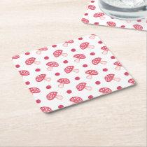 watercolor cute red mushrooms and polka dots square paper coaster