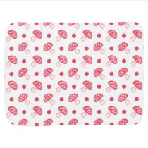 watercolor cute red mushrooms and polka dots stroller blanket