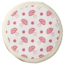 watercolor cute red mushrooms and polka dots sugar cookie
