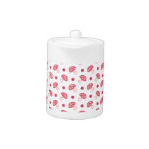 watercolor cute red mushrooms and polka dots teapot
