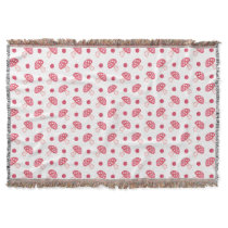 watercolor cute red mushrooms and polka dots throw blanket