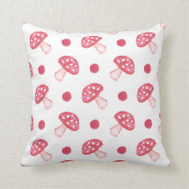 watercolor cute red mushrooms and polka dots throw pillow
